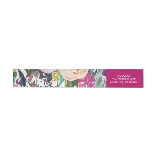 Colorful Flowers Watercolor Return Address Label