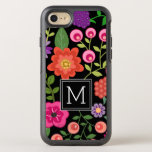 "Colorful Flowers with Black Background Monogram OtterBox Symmetry iPhone 8/7 Case<br><div class=""desc"">A cute design with trendy Spring flowers and a bold way to display your monograms.</div>"
