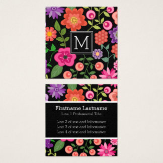 Colorful Flowers with Black Background Monogram Square Business Card