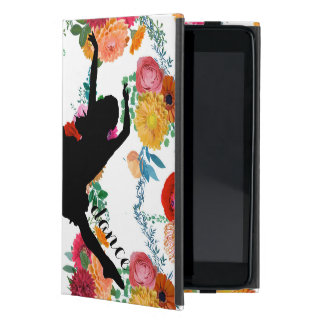 Colorful Flowers With Black Silhouette Dancer iPad Mini Cover