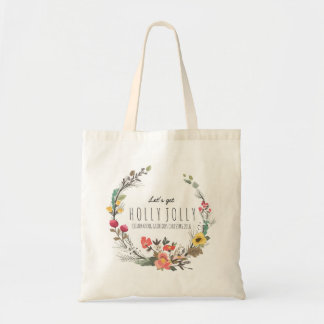 Colorful Flowers Wreath Christmas Text Template Tote Bag