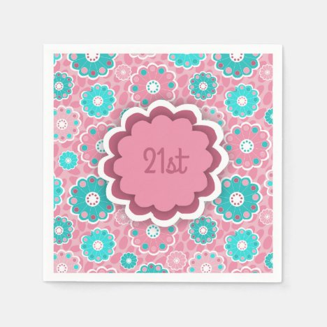 Colorful flowery aqua and pink napkin