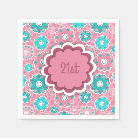 Colorful flowery aqua and pink napkin