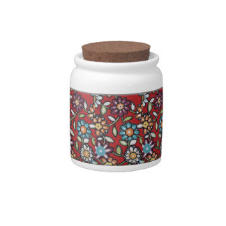 colorful flowery candy jar