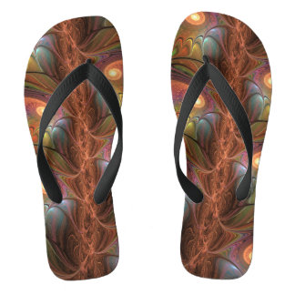 Colorful Fluorescent Abstract Modern Brown Fractal Flip Flops