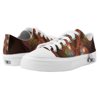 Colorful Fluorescent Abstract Modern Brown Fractal Low-Top Sneakers
