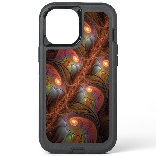 Colorful Fluorescent Abstract Modern Brown Fractal OtterBox Defender iPhone 12 Pro Max Case