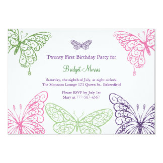 Colorful Fluttering Butterflies 21st Birthday 5x7 Paper Invitation Card