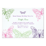 Colorful Fluttering Butterflies Sweet Sixteen Custom Invitations