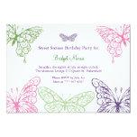 Colorful Fluttering Butterflies Sweet Sixteen Custom Invitations