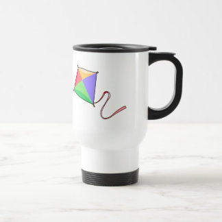 Colorful Flying Red, Yellow, Green, and Blue Kite 15 Oz Stainless Steel Travel Mug