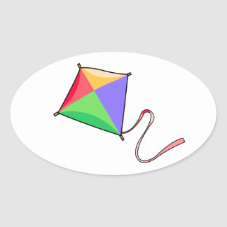 Colorful Flying Red, Yellow, Green, and Blue Kite Oval Sticker