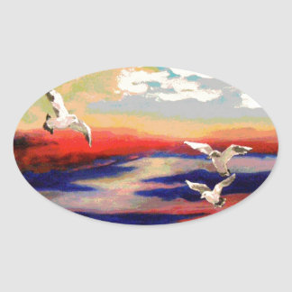Colorful Flying Seagulls Sticker