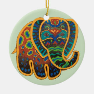 Colorful Folk Art Elephant Ornament