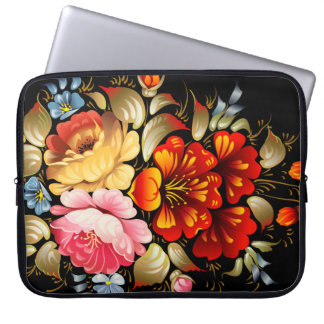 Colorful Folk Art Floral Laptop Computer Sleeves