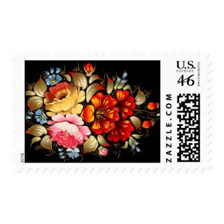 Colorful Folk Art Floral Postage Stamp