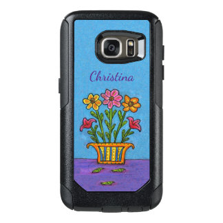 Colorful Folk Art Flowers Yellow Vase on Table OtterBox Samsung Galaxy S7 Case