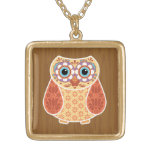Colorful Folk Art Owl Gold Plated Necklace