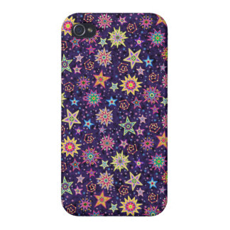 Colorful Folk Art Starry Sky Cover For iPhone 4