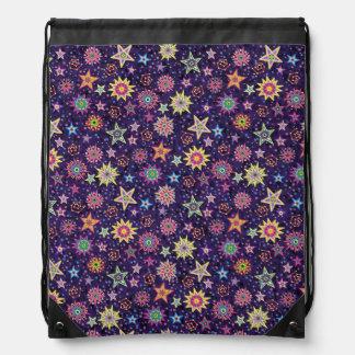 Colorful Folk Art Starry Sky Drawstring Bag