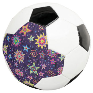Colorful Folk Art Starry Sky Soccer Ball