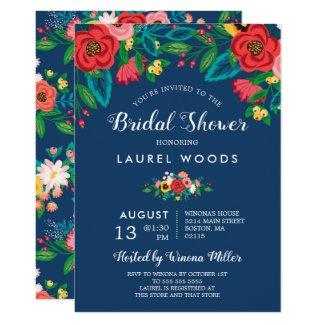 Colorful Folk Bouquets - Boho Blue Bridal Shower Invitation