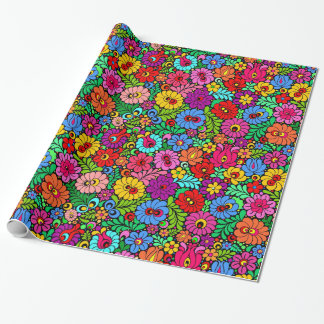 Colorful Folk Floral wrapping paper gift wrap