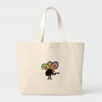Colorful folksinger tote bags