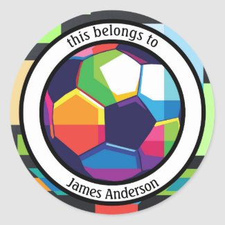 Colorful Football Book or School Sticker