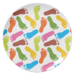 Colorful Footprints Dinner Plates