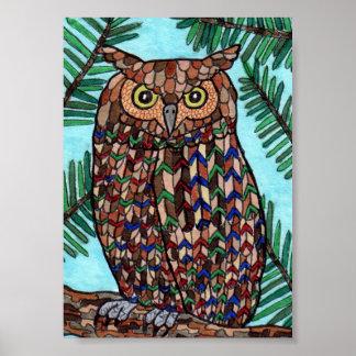 Colorful Forest Owl Mini Folk Art Poster
