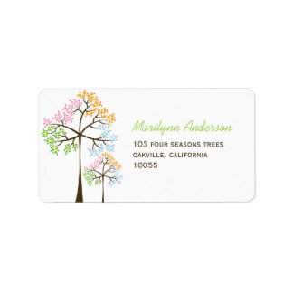 Colorful Four Seasons Trees Wedding Address Labels