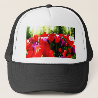 Colorful fowers and nature trucker hat