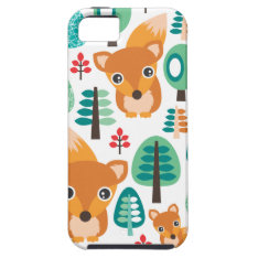 Colorful Fox Tree Kids Pattern Iphone 5 Case at Zazzle