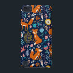 "Colorful Foxes &amp; Retro Flowers Pattern iPod Touch (5th Generation) Cover<br><div class=""desc"">Colorful retro flowers cute birds and red foxes cartoon style illustration on dark blue background color.</div>"