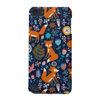Colorful Foxes & Retro Flowers Pattern iPod Touch (5th Generation) Cover
