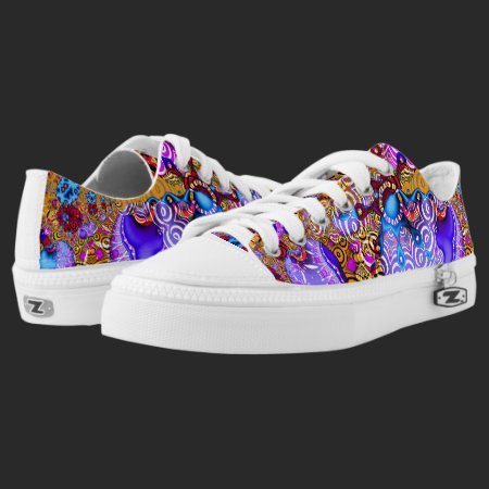 Colorful Fractal Hodgepodge Low-Top Sneakers