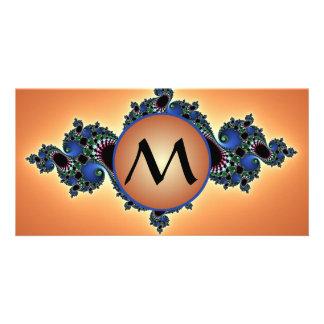 Colorful Fractal Lush, Swirls w/ Monogram on Gold Card