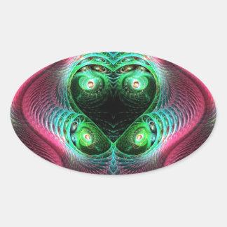Colorful Fractal Oval Sticker