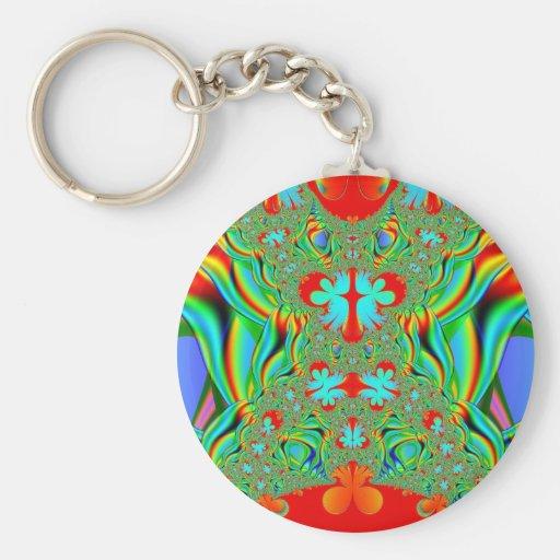 Colorful fractal skins keychains