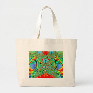 Colorful fractal skins large tote bag