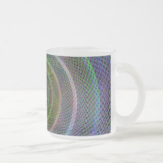 Colorful fractal spiral frosted glass coffee mug