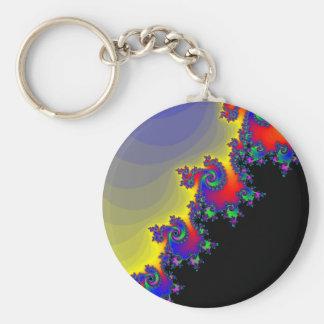 Colorful Fractal Spirals: Basic Round Button Keychain