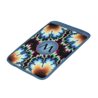 Colorful Fractal with Blue Customizable Monogram Sleeve For MacBook Air