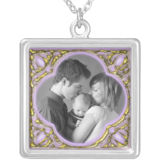 Colorful Frame Silver Plated Necklace