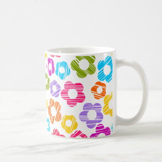 Colorful freehand drawn flowers mug