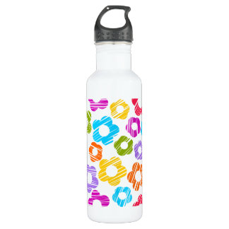 Colorful freehand drawn flowers stainless steel water bottle