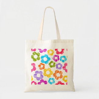 Colorful freehand drawn flowers tote bag