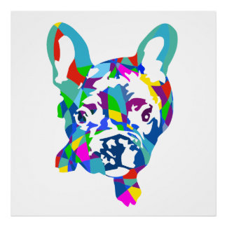 Colorful French Bulldog puppy Poster