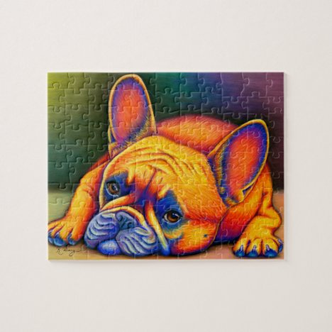 Colorful French Bulldog Rainbow Frenchie Puzzle